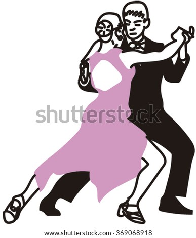 Tango Dancers Performing. - stock vector