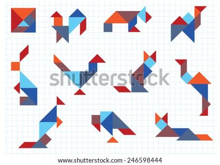 tangram animals birds - stock vector