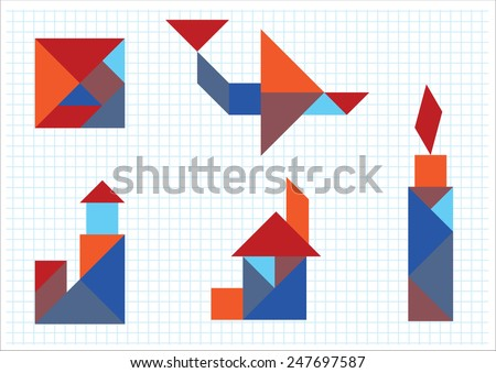 tangram house aircraft candle lighthouse