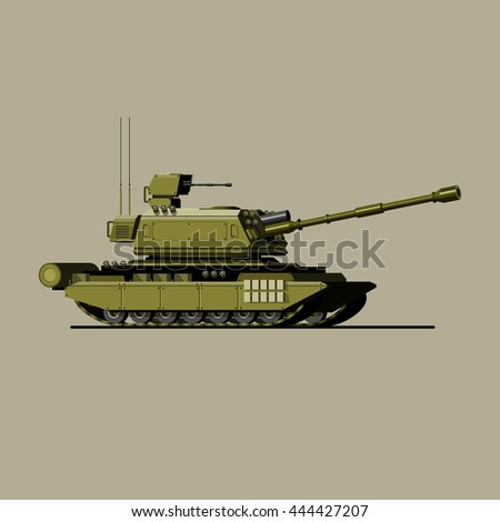 Tank. A military panzer. barrel. attack.