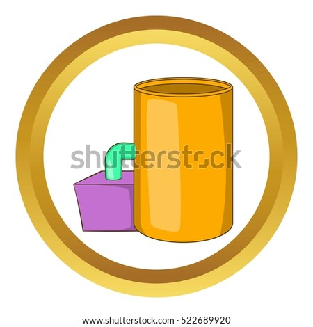 Tank and pipe vector icon in golden circle, cartoon style isolated on white background