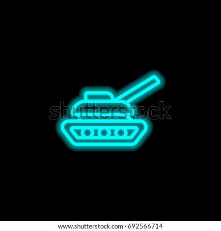 Tank blue glowing neon ui ux icon. Glowing sign logo vector