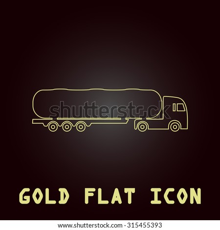 Tank car. Trailer Outline gold flat pictogram on dark background with simple text.Vector Illustration trend icon