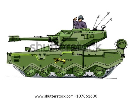 tank - cartoon - stock vector