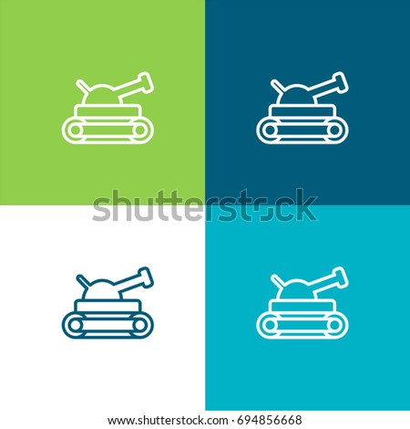 Tank green and blue material color minimal icon or logo design