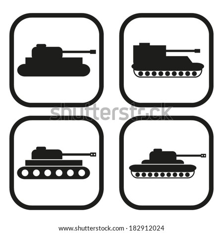 Tank icon - four variations - stock vector