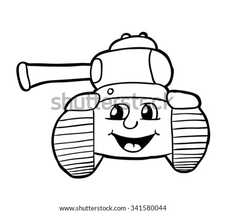 Tank with smile, vector illustration, coloring book