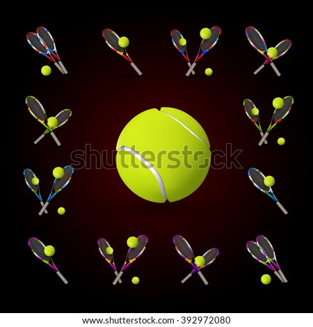 Tannis ball and racket on the dark background. Vector tennis items as design elements. - stock vector