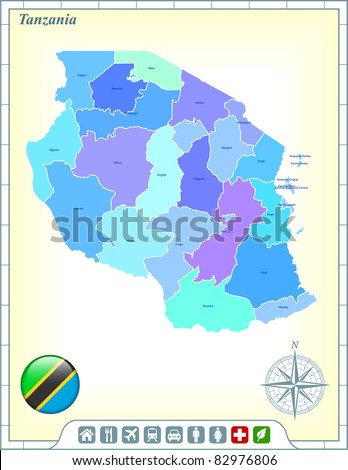 Tanzania Map with Flag Buttons and Assistance & Activates Icons Original Illustration - stock vector