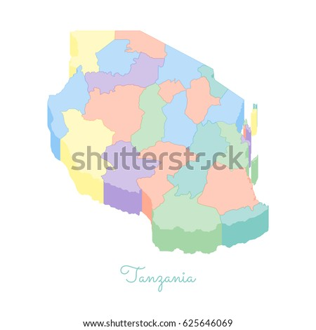 Tanzania Region Map Colorful Isometric Top Stock Vector 625646069