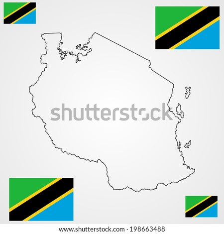 Tanzania vector map and vector flag high detailed silhouette illustration isolated on white background.  - stock vector