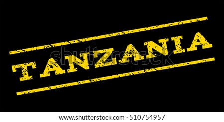 Tanzania watermark stamp. Text caption between parallel lines with grunge design style. Rubber seal stamp with dirty texture. Vector yellow color ink imprint on a blue background.