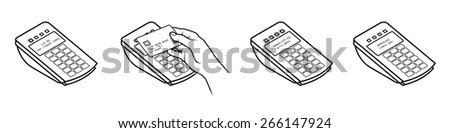 Tap and Pay Payment. Diagram shows typical payment process using a POS terminal with LED lights and screen messages. - stock vector