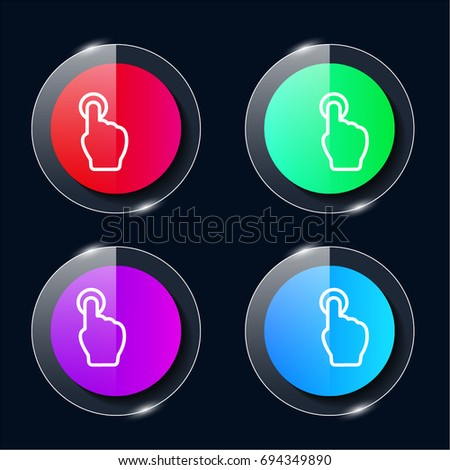 Tap Button four color glass button ui ux icon. Glossy app icon logo vector