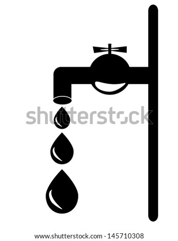 Tap. Isolated on white background with drops. - stock vector