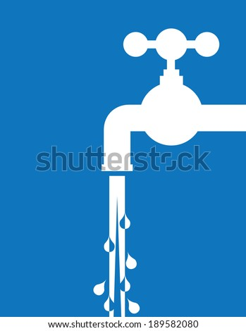 tap water and pipes - illustration - stock vector