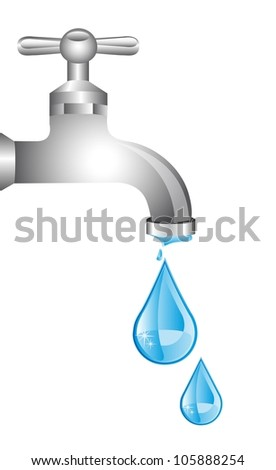 tap water with water drops over white background. vector - stock vector