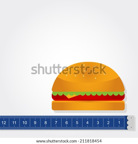 Tape measure measuring a sandwich with copy space to insert text. Measuring the calories. Sandwich and tape measure - stock vector