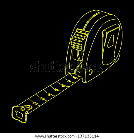 Tape measure vector isolated on black background - stock vector