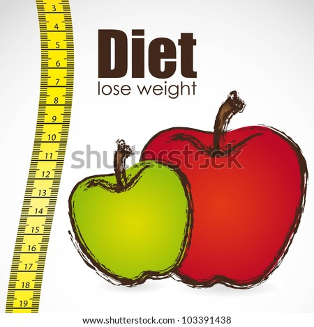 tape measure with apple, weight control, vector illustration - stock vector