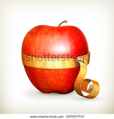 Tape measurement and apple, vector - stock vector