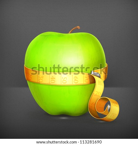 Tape measurement and green apple vector - stock vector