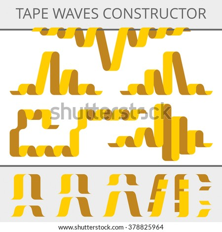Tape waves constructor. Set of parts for design bands of different shapes. Flat vector elements and assemblies. - stock vector