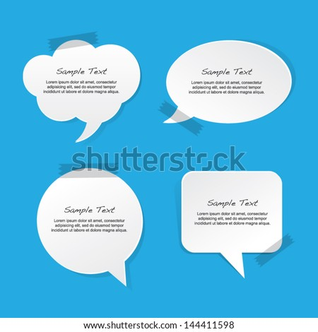Taped Paper Speech Bubble - stock vector