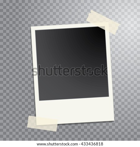 taped vintage photo frame - stock vector
