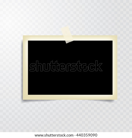 taped vintage photo frame with transparent shadow - stock vector