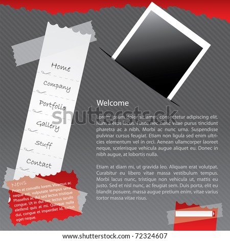 Taped website with photo - stock vector