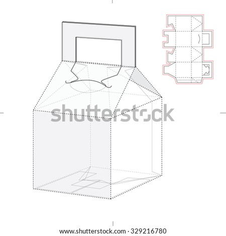Tapered Caring Box with Die Line Template - stock vector