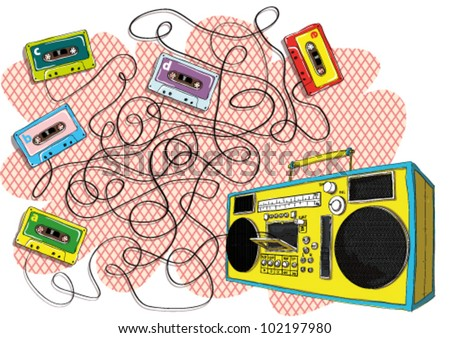 Tapes and Boom-box Maze Game Task: Find out which tape goes to tape recorder! Answer: Tape with letter d.