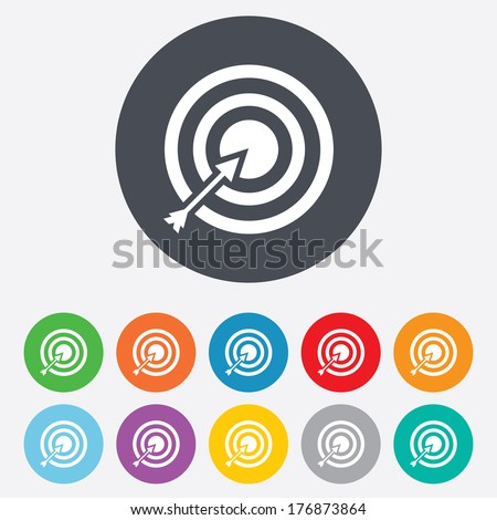 Target aim sign icon. Darts board with arrow symbol. Round colourful 11 buttons. Vector - stock vector