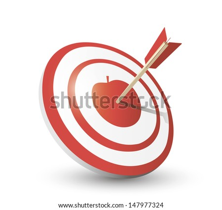 Target and apple with arrow - stock vector