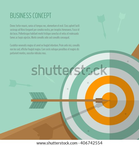 Target and arrow. Archery, darts game. Targeting. The exact shot on target. Business concept, goal achievement, success, winning. Flat style, vector illustration. - stock vector