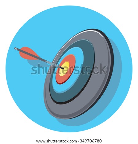 target and arrow circle icon with shadow - stock vector