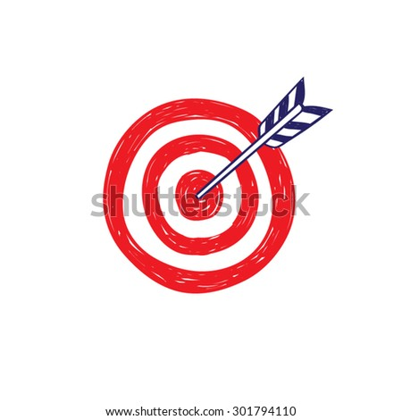 Target and arrow icon vector  doodle style, isolated.