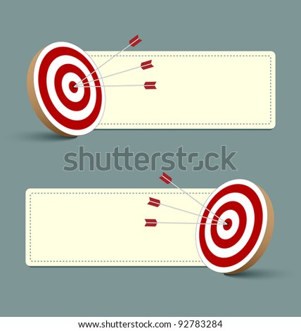 Target, arrows and banners isolated on background - stock vector