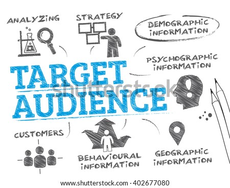 Target Audience. Chart with keywords and icons - stock vector