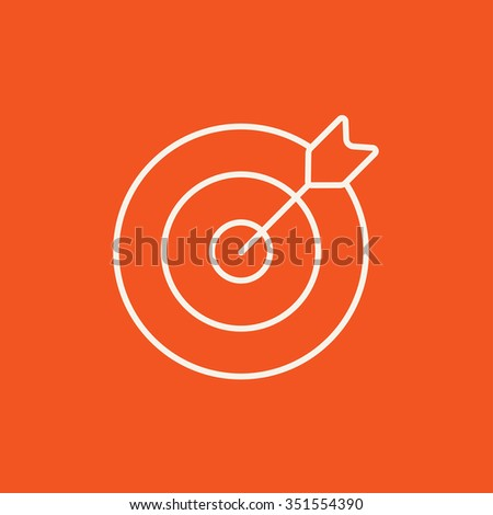 Target board and arrow line icon for web, mobile and infographics. Vector white icon isolated on red background. - stock vector