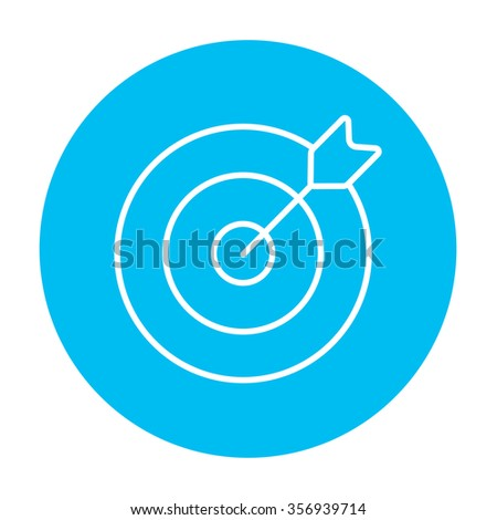 Target board and arrow line icon for web, mobile and infographics. Vector white icon on the light blue circle isolated on white background. - stock vector