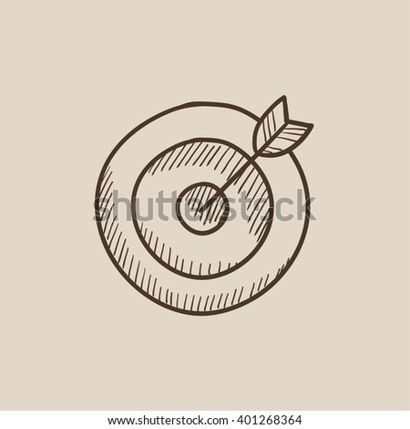 Target board and arrow sketch icon. - stock vector
