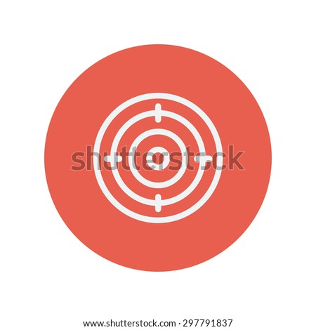 Target board thin line icon for web and mobile minimalistic flat design. Vector white icon inside the red circle.