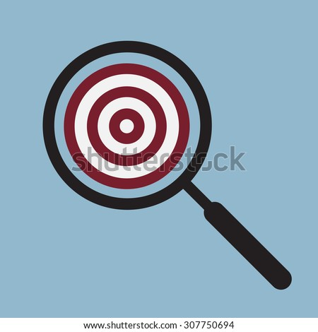target goal with magnifying glass, goal searching idea concept. vector illustration