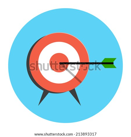 Target Icon. Flat style illustration. Isolated in colored circle on white background.