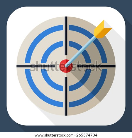Target icon in flat style with dart and long shadow - stock vector