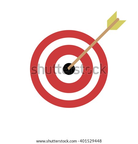 Target icon, vector in flat design, red and white, arrow