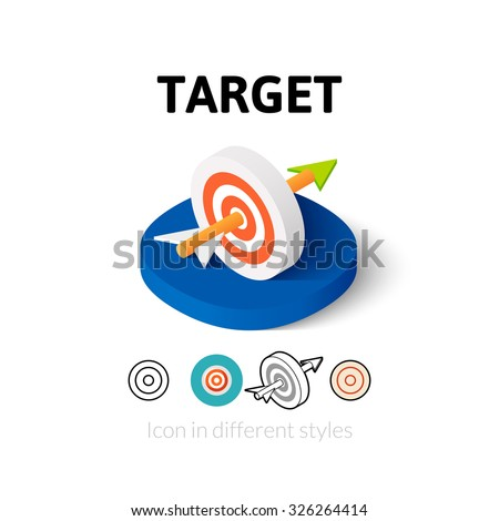 Target icon, vector symbol in flat, outline and isometric style - stock vector