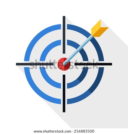 Target icon with dart and long shadow on white background - stock vector